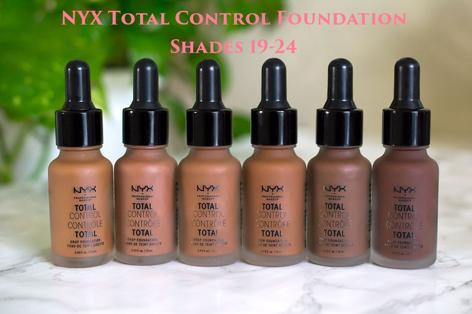 NYX Total Control Foundation Shades 19-24 - NYX Total Control Drop Foundation Swatches and Review by popular LA beauty blogger My Beauty Bunny