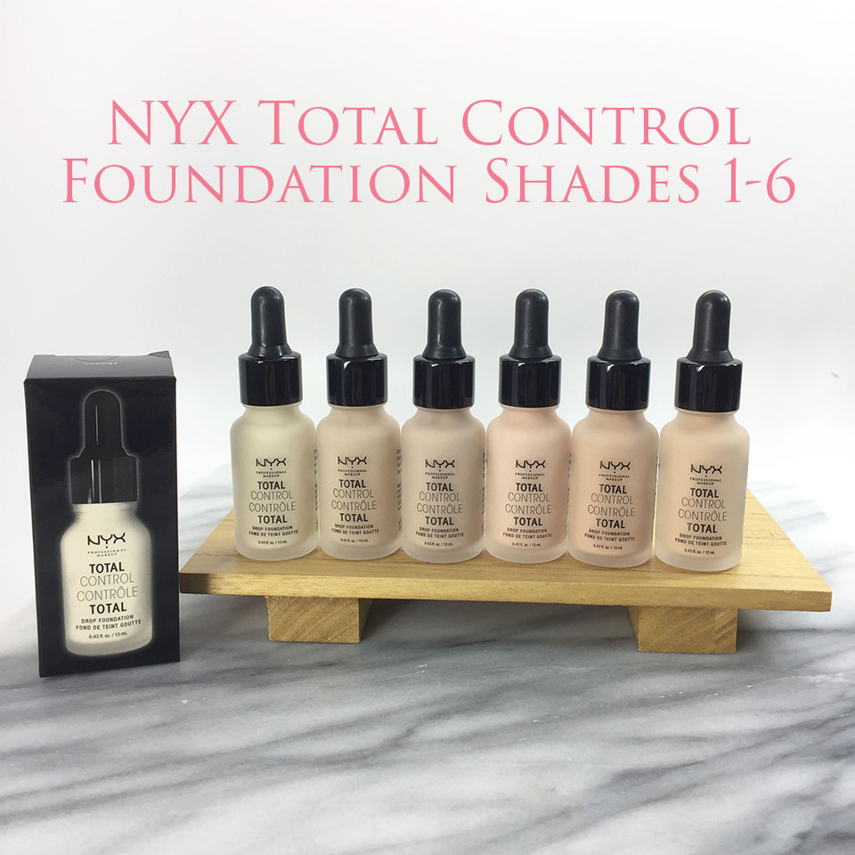 NYX Total Control Drop Foundation Shades 1-6 - NYX Total Control Drop Foundation Swatches and Review by popular LA beauty blogger My Beauty Bunny