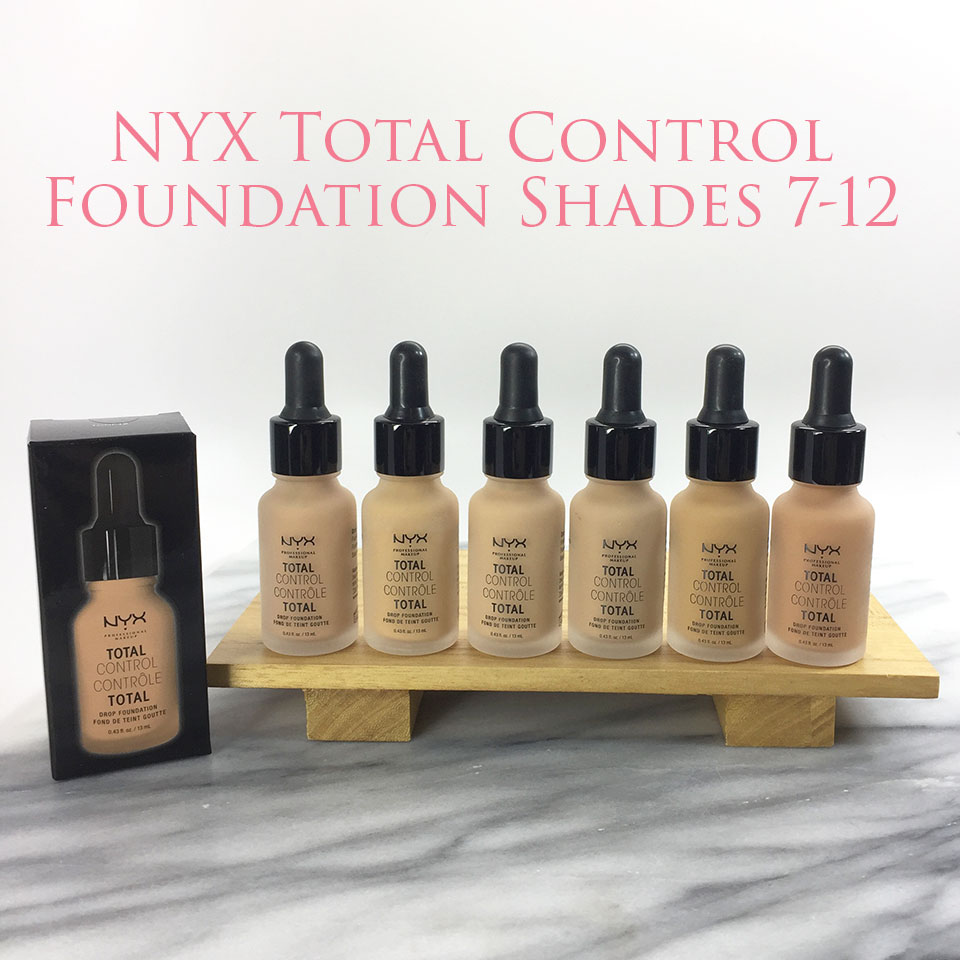 NYX Total Control Drop Foundation Shades 7-12 - NYX Total Control Drop Foundation Swatches and Review by popular LA beauty blogger My Beauty Bunny