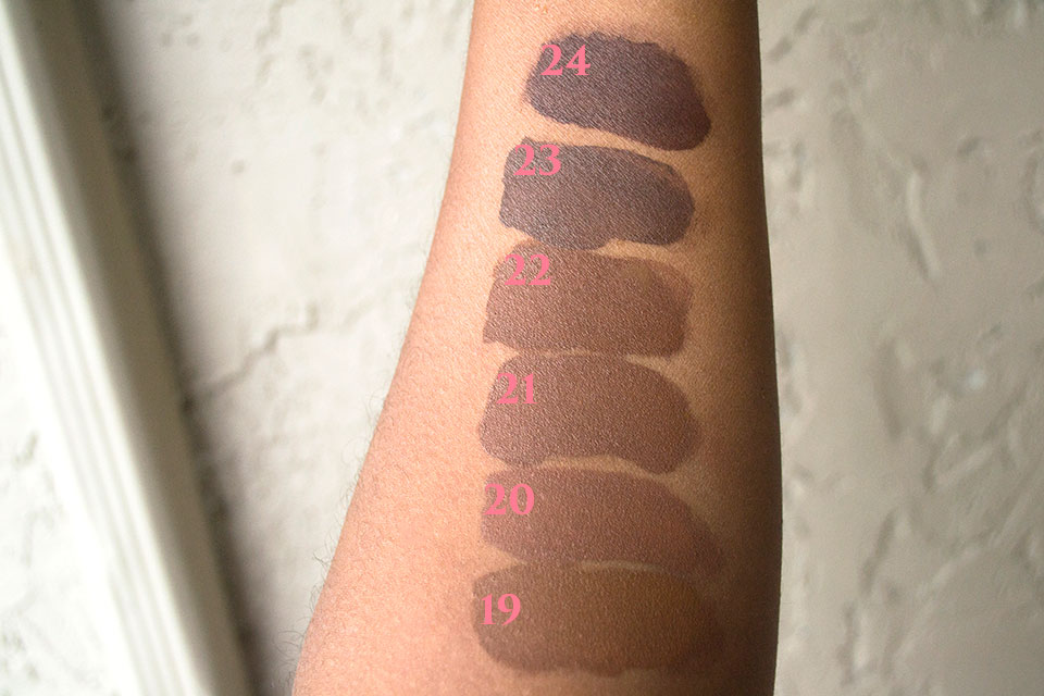 NYX Total Control Swatches Shades 19-24 - NYX Total Control Drop Foundation Swatches and Review by popular LA beauty blogger My Beauty Bunny