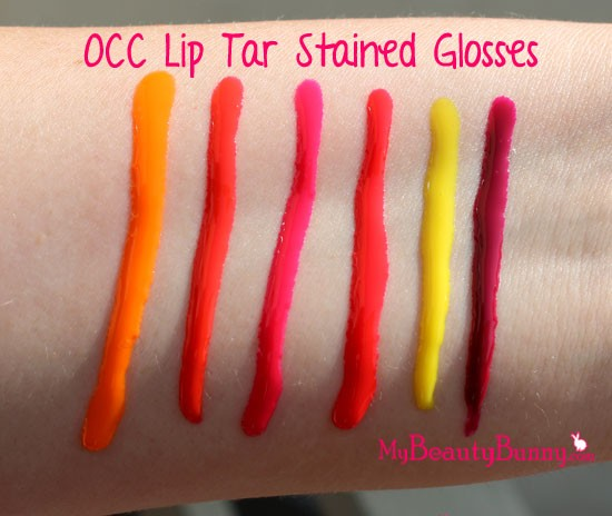 OCC Lip Tar Stained Gloss Swatches