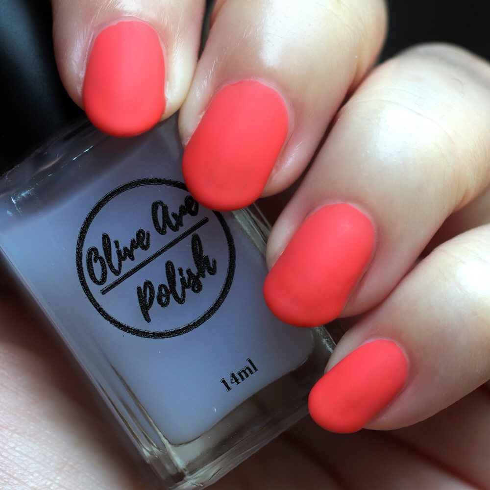 Cruelty free and vegan matte top coat by Olive Ave nail polish