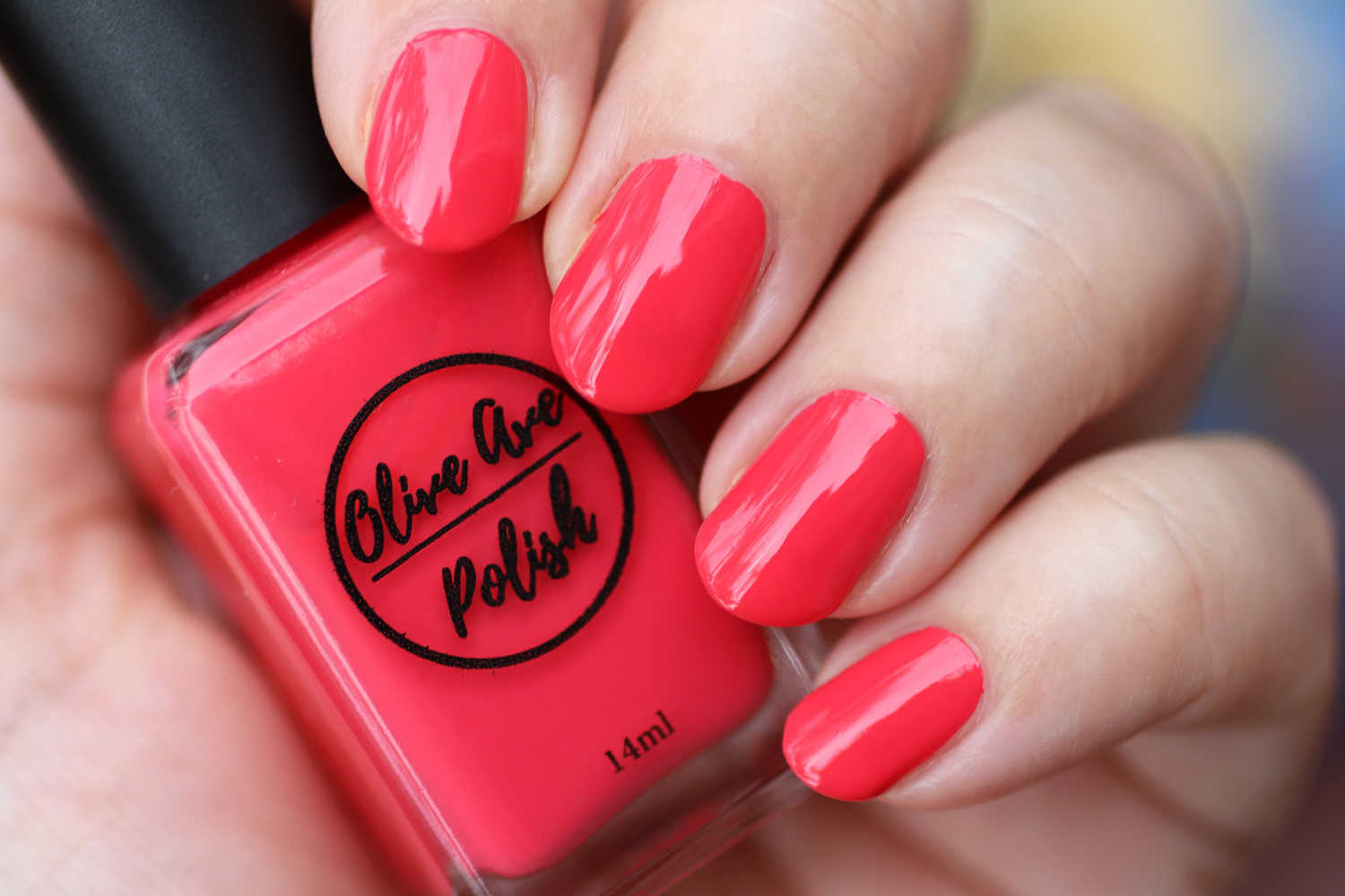 Strawberry coral pink nail polish by Olive Ave