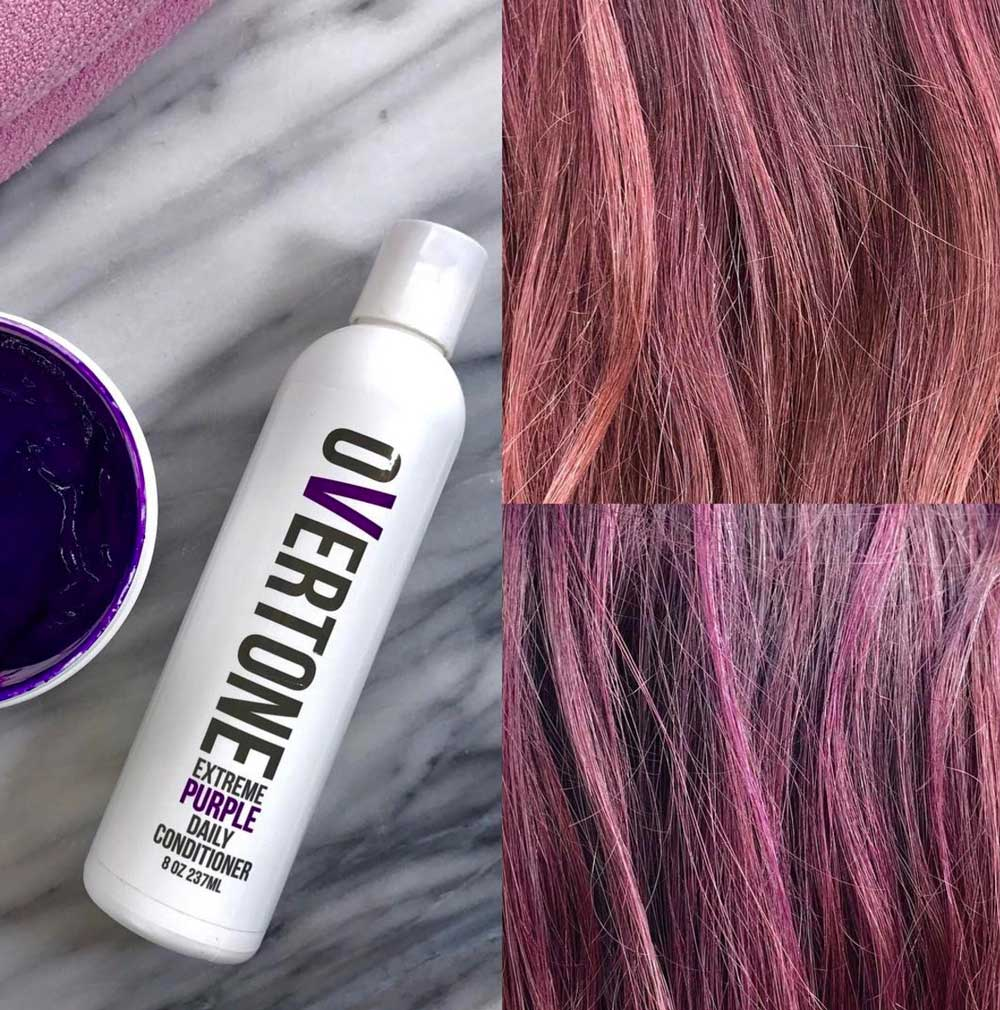 Overtone Extreme Purple Conditioner Before and After - How to Keep Your Fantasy Hair Color Bright and Bold with Overtone by popular Los Angeles beauty blogger My Beauty Bunny