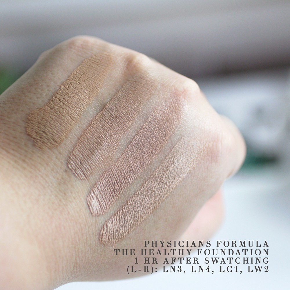 Physicians Formula The Healthy Foundation Swatches After Drying for One Hour