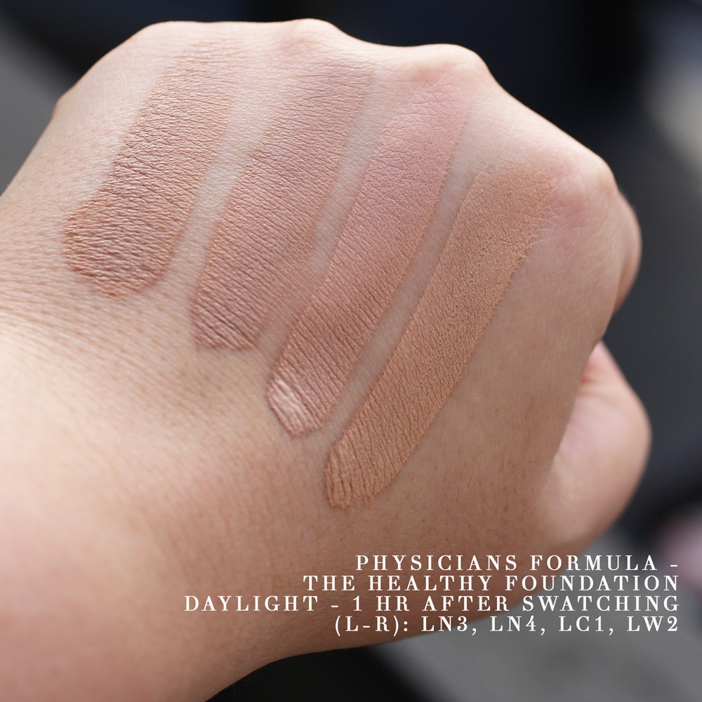 Physicians Formula The Healthy Foundation Swatches in Sunlight after Drying