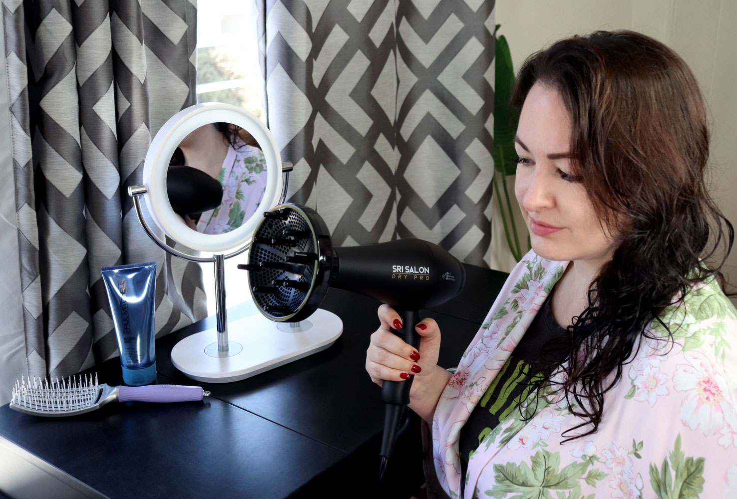 SRI Salon Dry Pro Hair Dryer with Diffuser Attachment