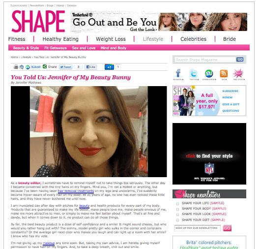 Jen Mathews Shape Magazine beauty blog