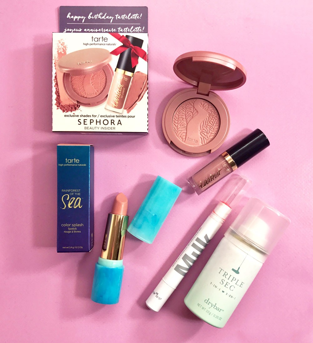 tarte cosmetics lip paint, tarte cosmetics color splash lipstick, milk makeup balm tint, Sephora VIB birthday gift, drybar triple sec
