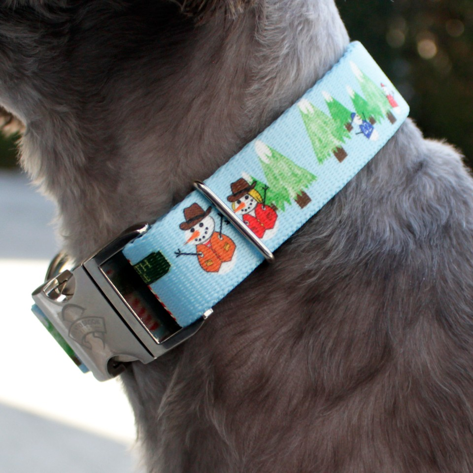 Dog Lovers Holiday Gift Guide - Snowman Collar and Leash Set