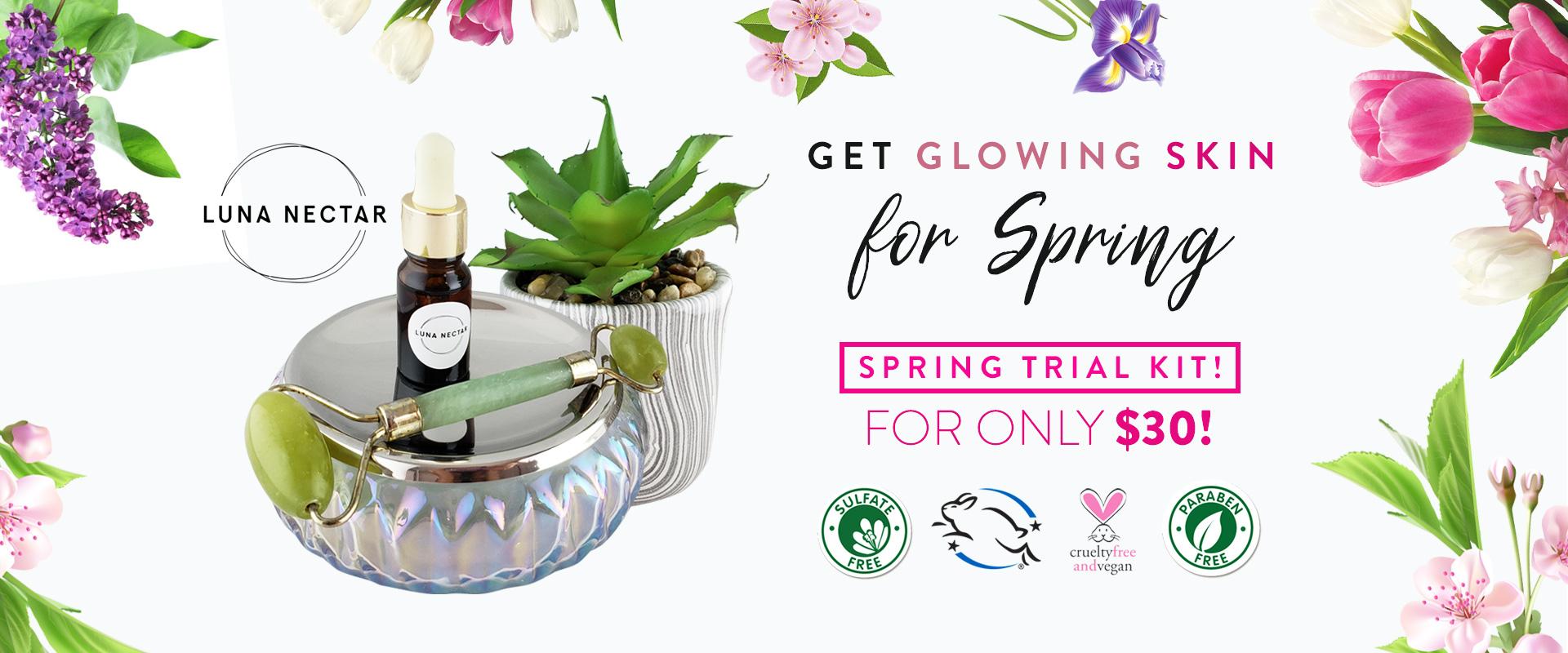 Luna Nectar jade roller and Heliophilia Glow & Fix Serum Spring Special