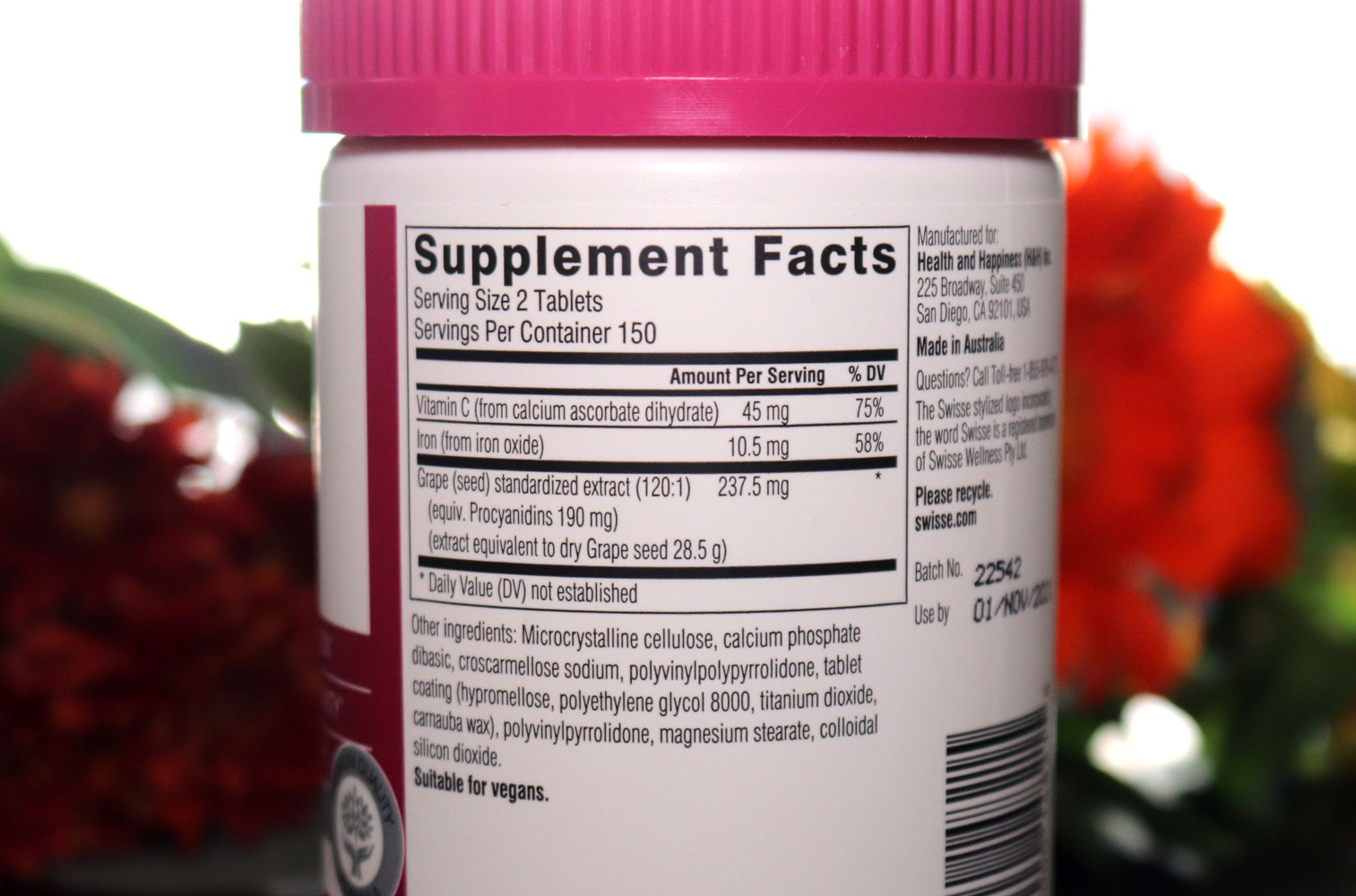 Swisse Grape Seed Extract Nutrition Facts