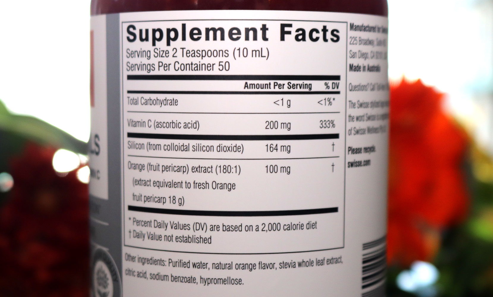 Swisse Hair Skin Nails Label - Nutrition Facts