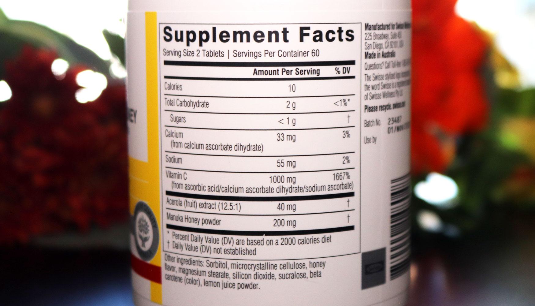 Swisse Vitamin C and Manuka Honey Nutrition Facts