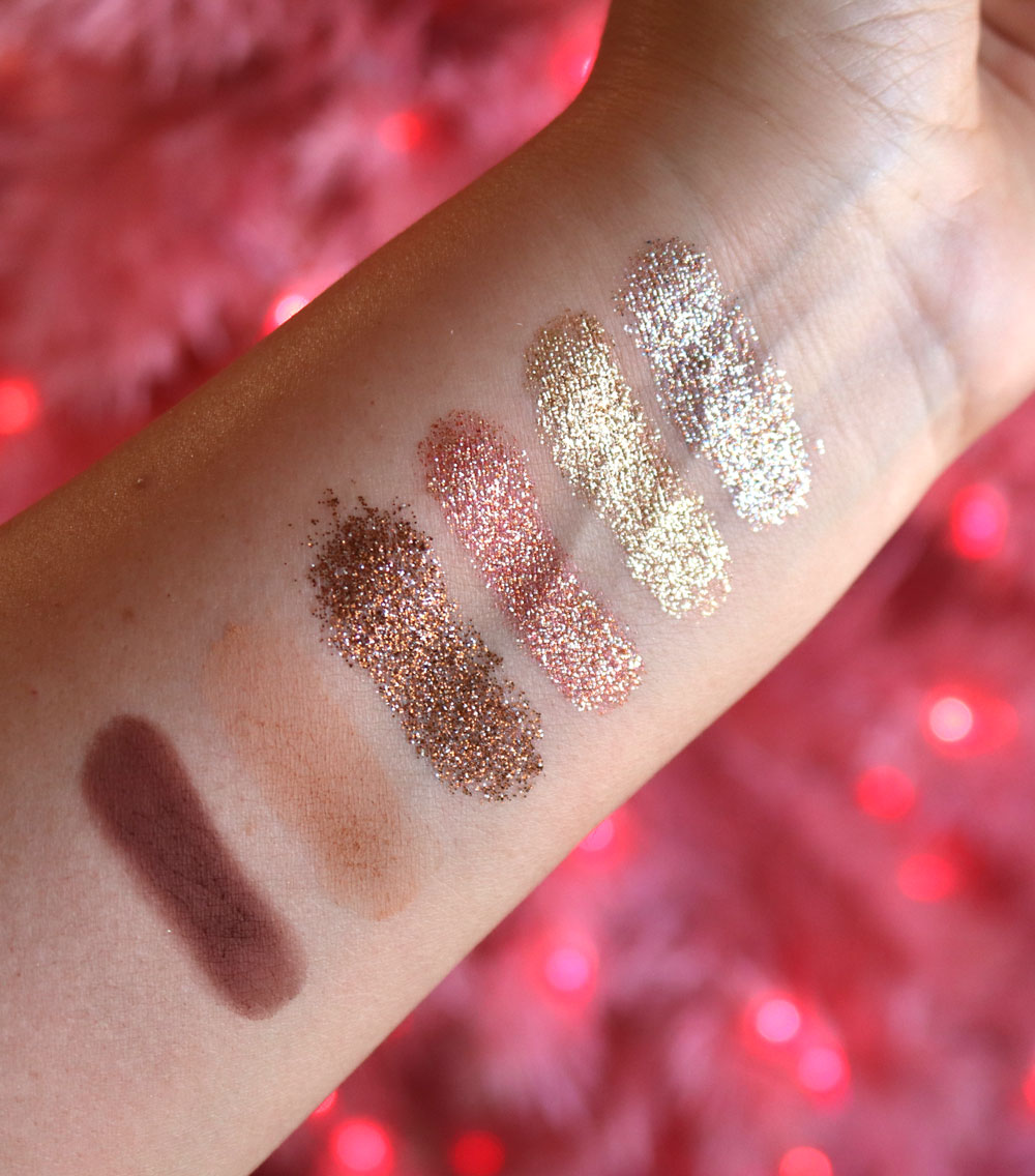 Too Faced Christmas Cookie House Party glitter eyeshadow palette swatches