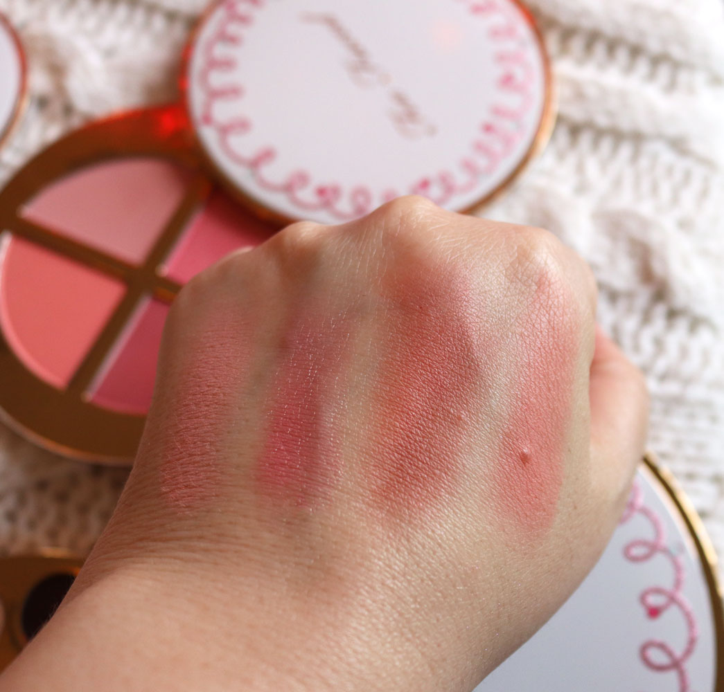 Too Faced Let It Snow, Girl! holiday 2019 blush palette swatches