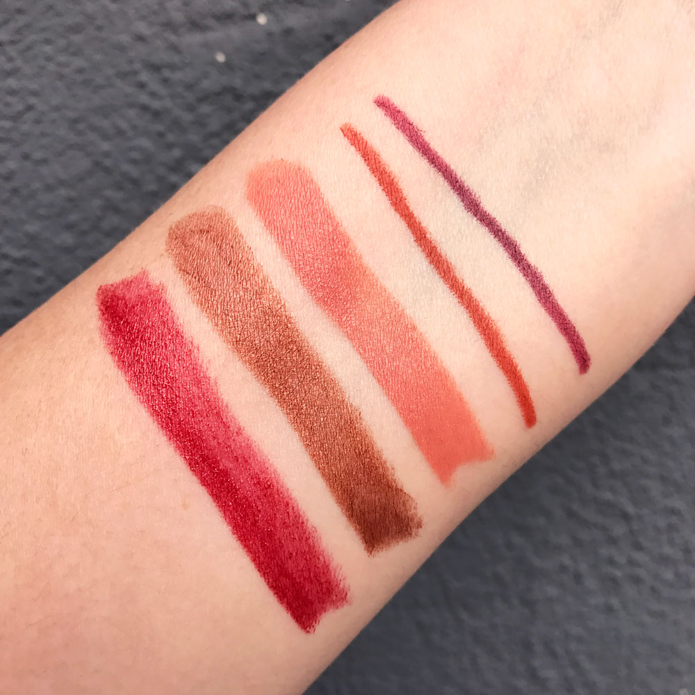 Urban Decay Heat Vice Lipstick and Eye Pencil Swatches
