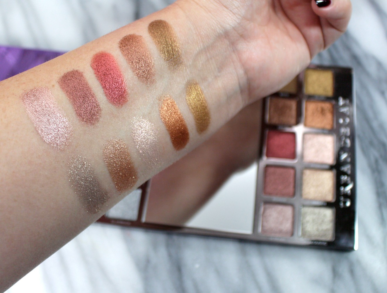 Urban Decay Heavy Metals Eyeshadow Palette Swatches - Urban Decay Heavy Metals Eyeshadow Palette review by popular Los Angeles cruelty free beauty blogger My Beauty Bunny