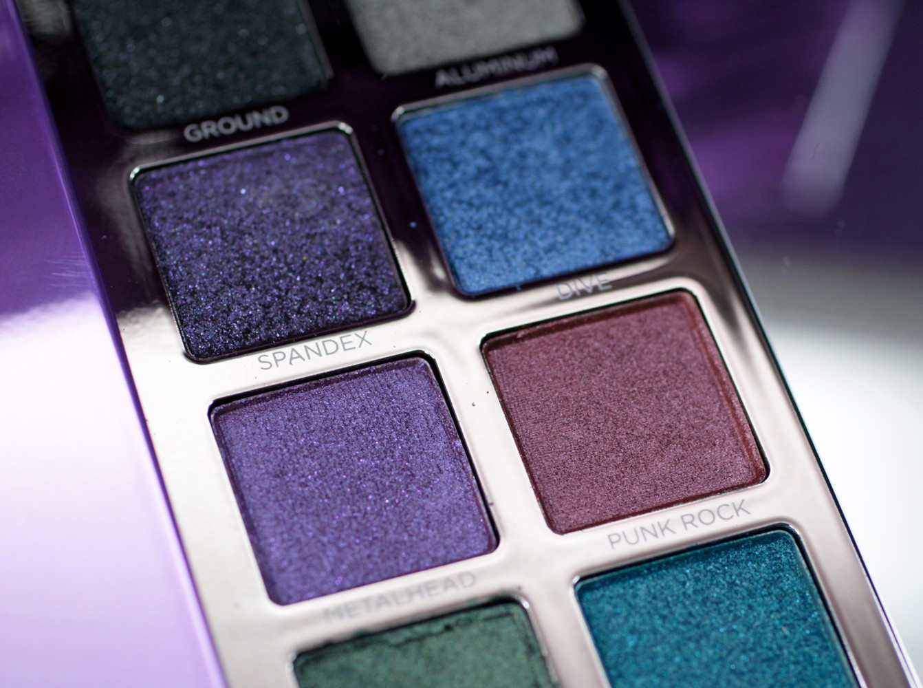 Urban Decay Heavy Metals Eyeshadow Palette - Spandex Dive Metalhead Punkrock  - Urban Decay Heavy Metals Palette review by popular Los Angeles cruelty free beauty blogger My Beauty Bunny