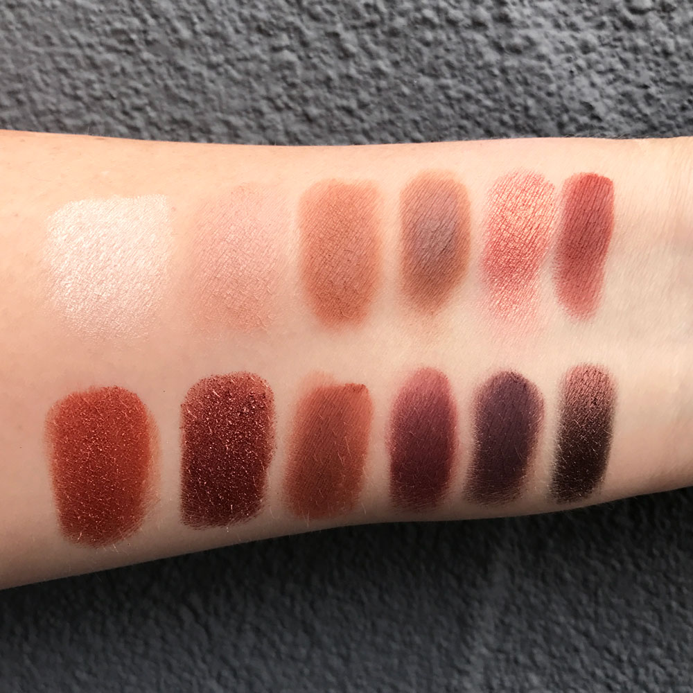 Urban Decay Heat Palette Swatches - Urban Decay Naked Petite Heat Palette Review by popular Los Angeles cruelty free beauty blogger My Beauty Bunny