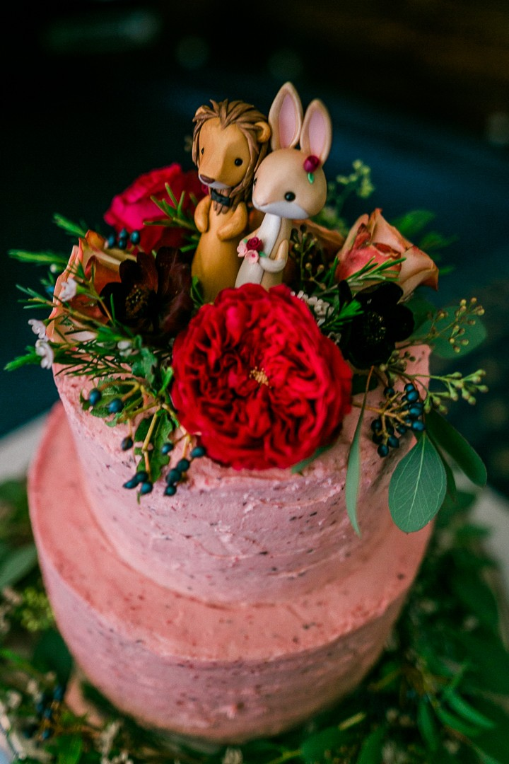 Bunny Rabbit and Lion Wedding Cake Topper - Pink Wedding Cake with Red Flowers and Greenery