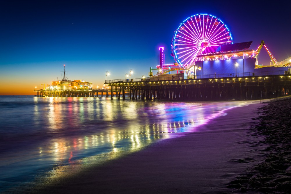 Most Instagrammable Places in LA - Santa Monica Pier at Night - Top Instagram Friendly Los Angeles Photo Spots featured by popular Los Angeles blogger My Beauty Bunny