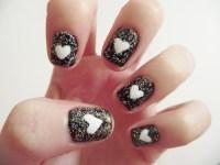 Black Sparkly Heart Nail Art | My Beauty Notes