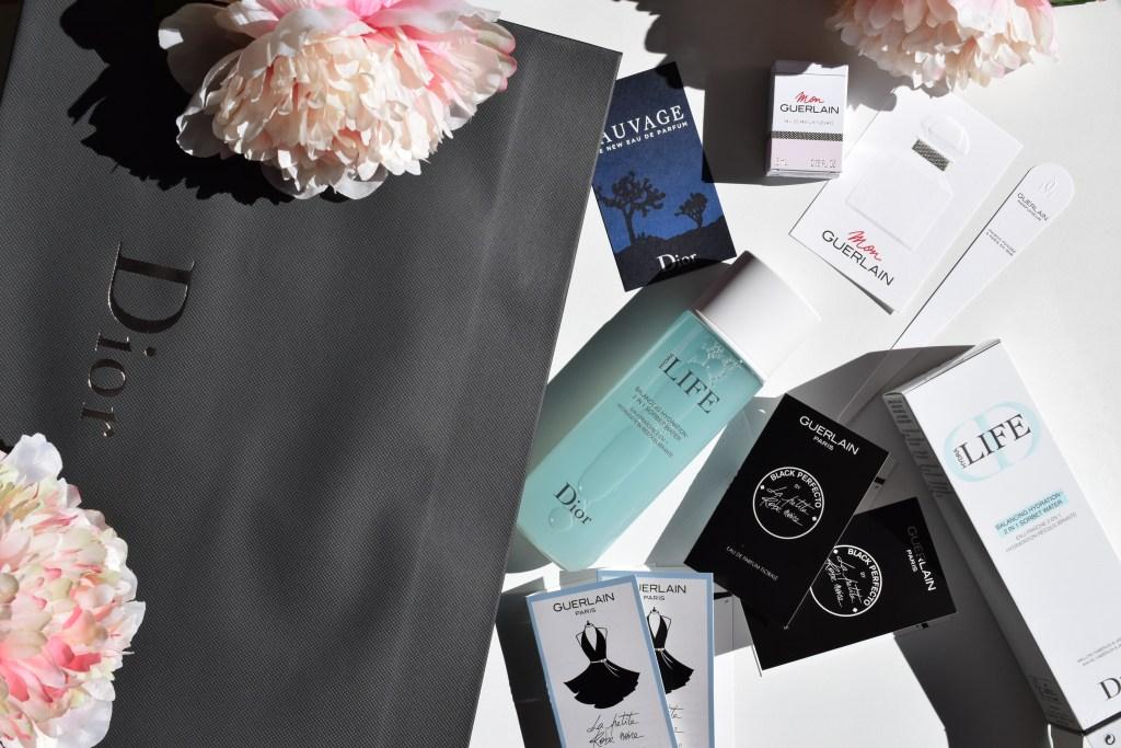 FLatlay makeup Dior Guerlain flowers beauty