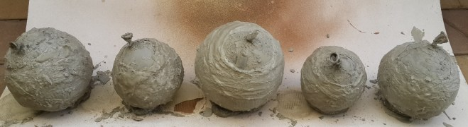 Step 6: The next day! All the cement balloons have dried overnight and we are now ready to start popping.