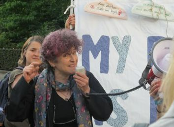 Isabel Ros López, prochoice activist, at a recent joint protest.