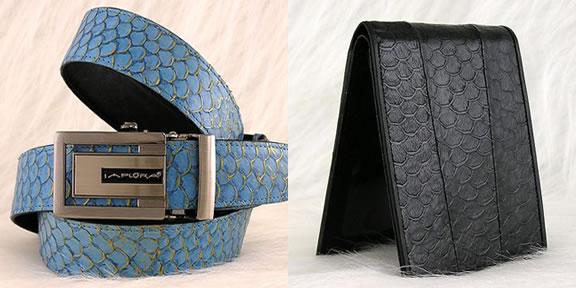 Cinturão e Carteira de Cores Variadas feitos com Couro de Tilápia