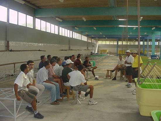 Dr. Elias Alves Cordeiro Ministrando Treinamento para Pessoal da Estacão de Produção de Alevinos em Paulo Afonso em Construção. Dr. Elias foi o Engenheiro Projetista Responsavel pelo Completo Projeto da Estação de Alevinos do Polo de Aquicultura