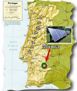 Mapa da Cidade de Moura ao Sul de Portugal