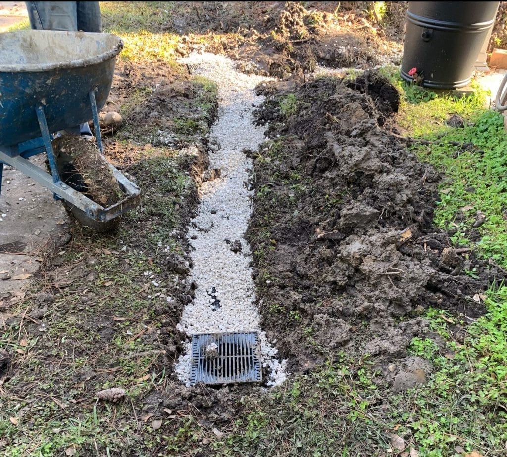 a catch basin drain example at houston home