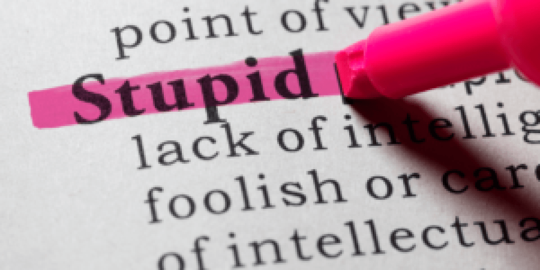 The word stupid highlighted in neon pink