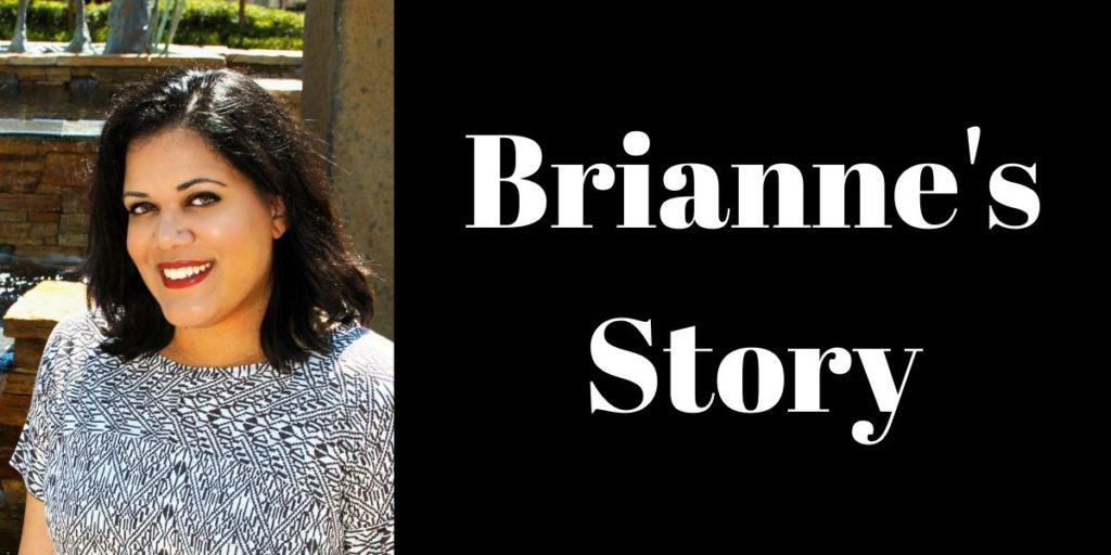 """Brianne, a beautiful girl in a black and white shirt and title, """"Brianne's Story"""""""