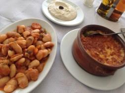Beans gigantes, garlic dip, another delicious concoction