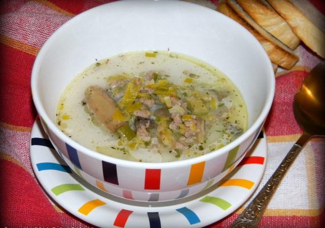 Supa cu praz, carne tocata si crema de branza