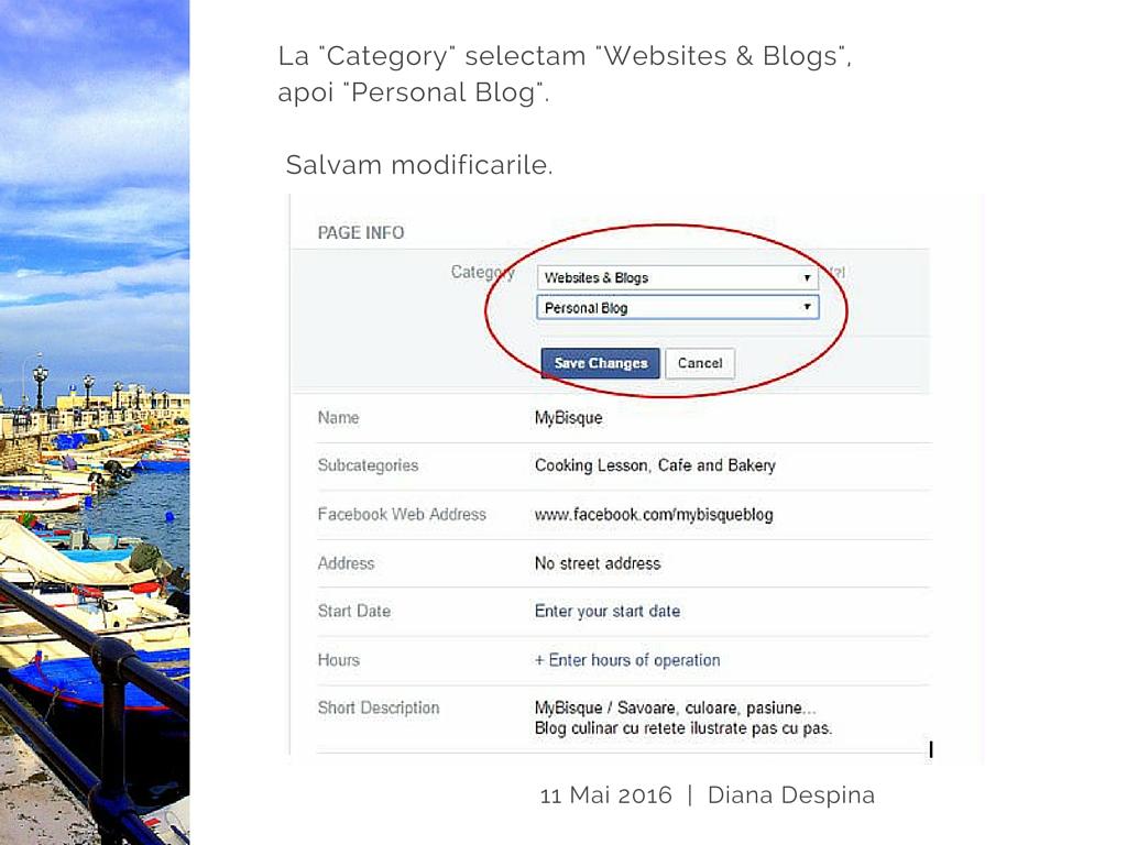 Pagina de FB si subcategoriile