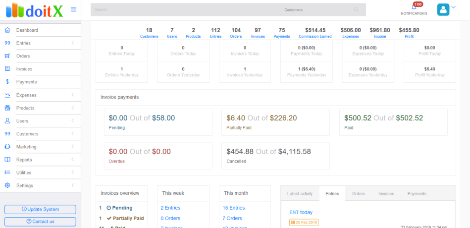 DoitX: Complete Sales CRM with Invoice, Expenses, Bulk SMS and Email Marketing - 1