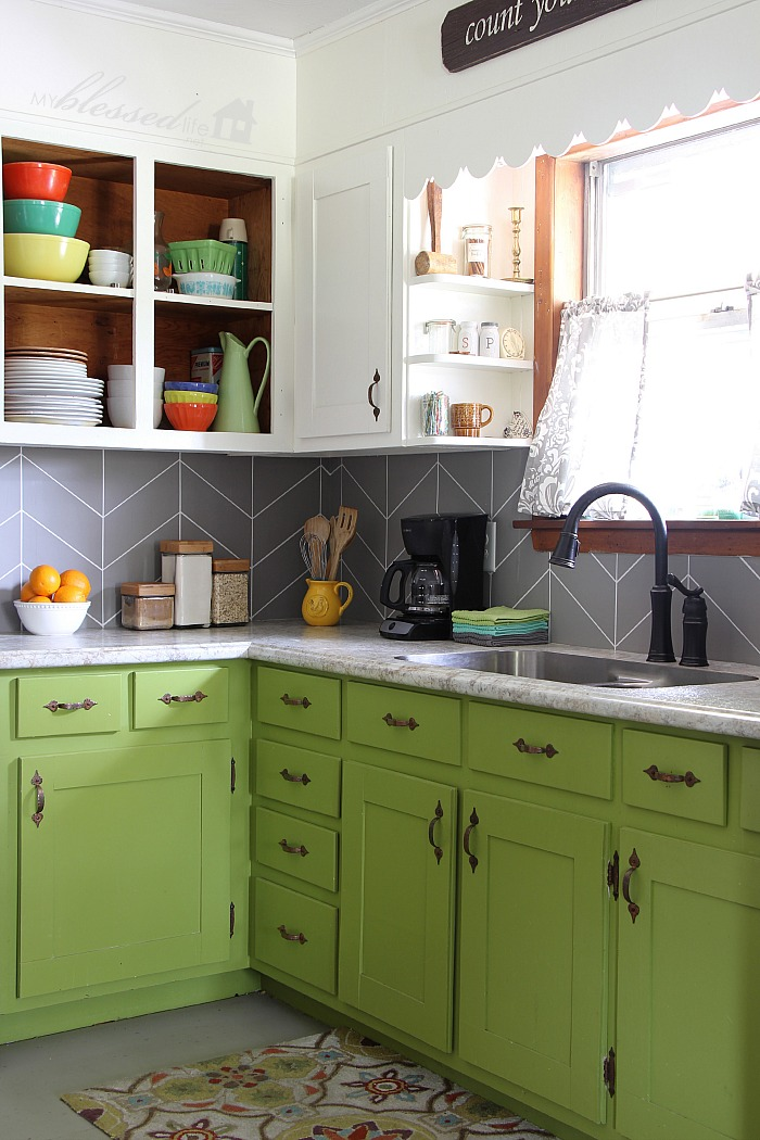 DIY Herringbone Tile Backsplash