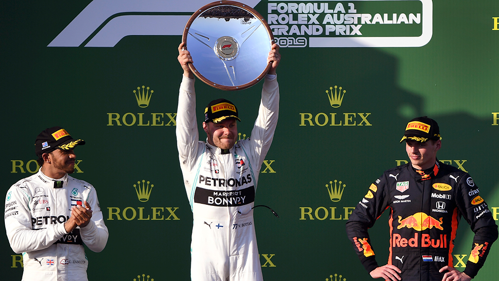 Valtteri Bottas celebrates his victory on the podium at the F1 Australian Grand Prix