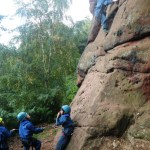 Climbing at Grinshill - peer group belaying