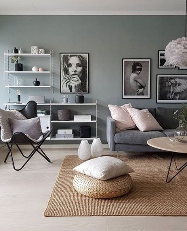 un salon a la deco moderne en gris et