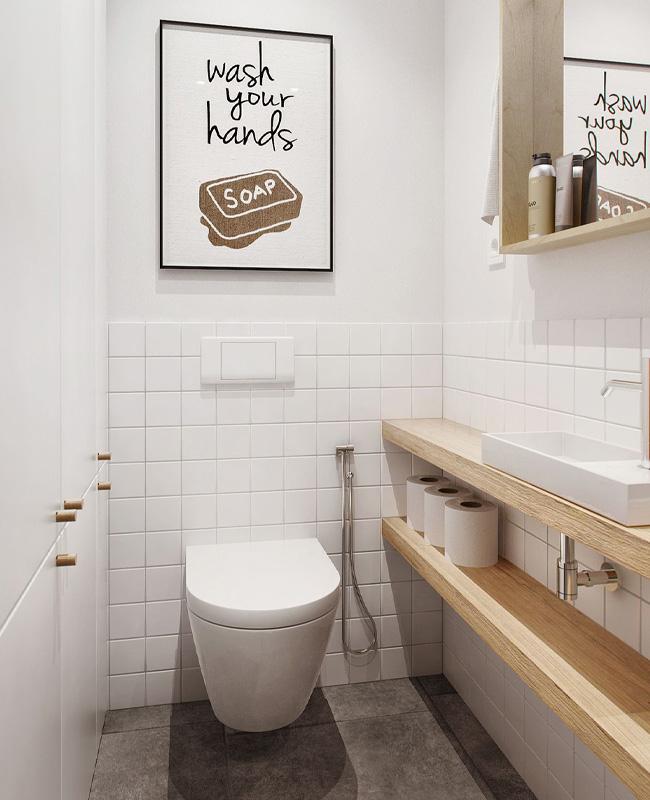 une deco scandinave dans les toilettes