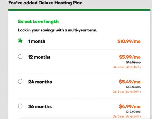 GoDaddy monthly plan