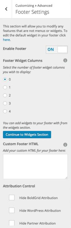 website footer customizer tool