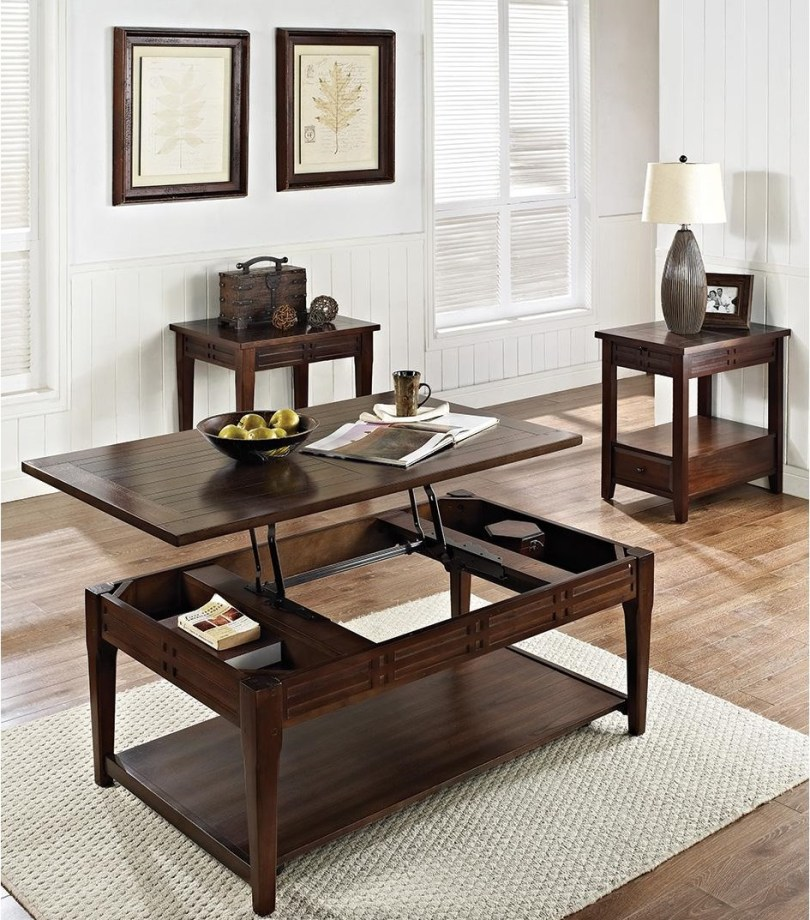 Wood Lift Top Coffee Table with Storage