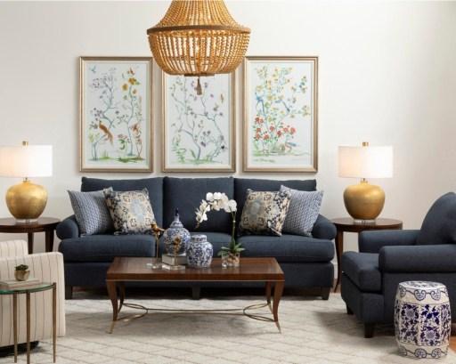 Blue Sofa Set in Stylish Living Room