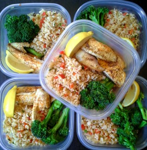 meal prep - brown rice with peppers, steamed broccoli and baked lemon tilapia